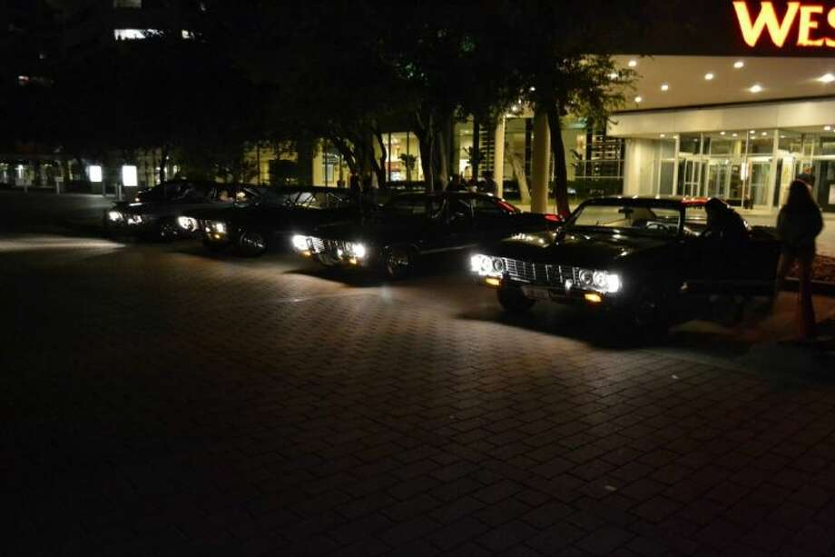 September 2013- A line of Impalas sit outside the Westin Hotel in Dallas during the Salute to Supernatural Convention.