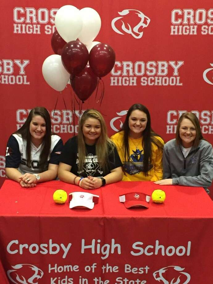 Crosby softball players Cheyenne Black (Lyons College), Alex Bishop (Lindenwood Belleville), Ciara Riendeau (Frank Phillips College) and Kaitlyn Stebelton (Kilgore College) all signed National Letters of Intent on Wednesday, Jan. 20, 2016, at Crosby High School.