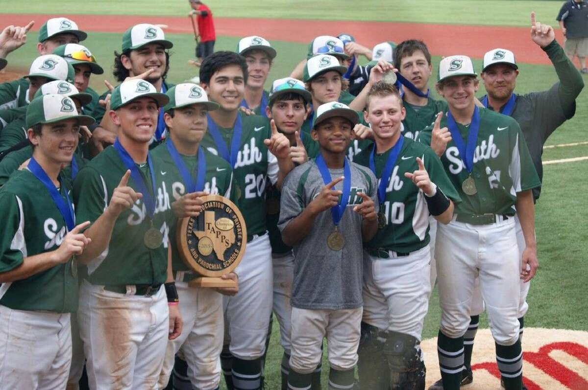 Lutheran South Academy players pose with their state championship trophy after ending the season on an 8-game winning streak which culminated in the TAPPS 4A baseball crown.