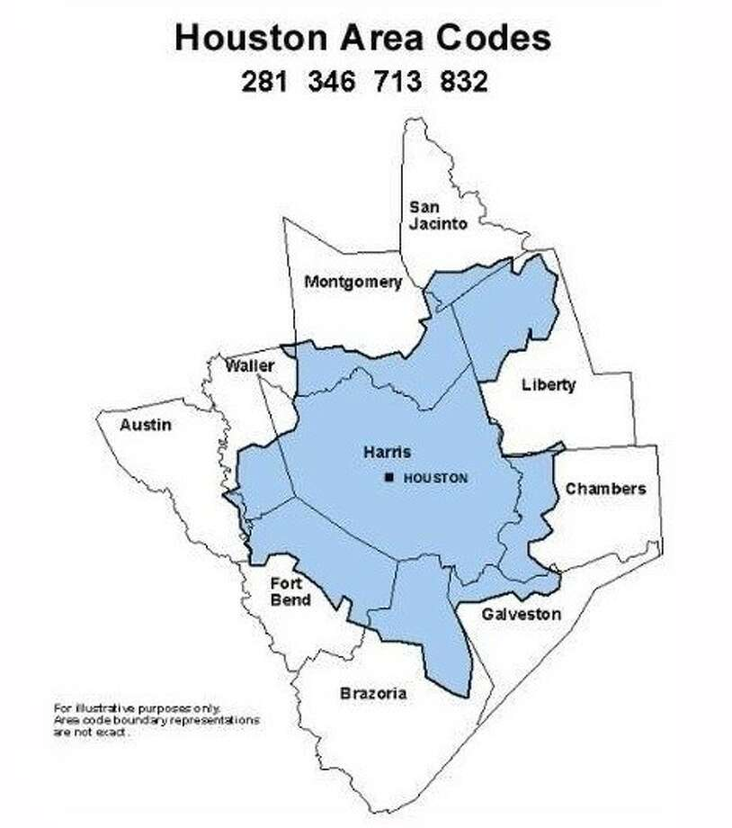 A map provided by the Public Utility Commission of Texas shows the coverage terrority of the new 346 area code. Photo: Submitted Photo