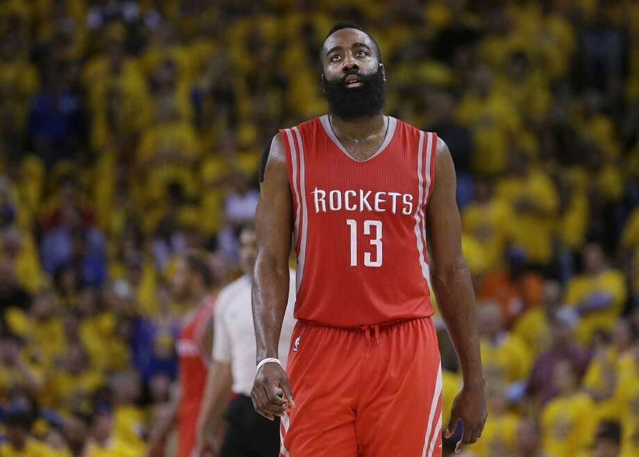 Rockets guard James Harden had 13 turnovers in Wednesday night's season-ending loss to the Warriors.