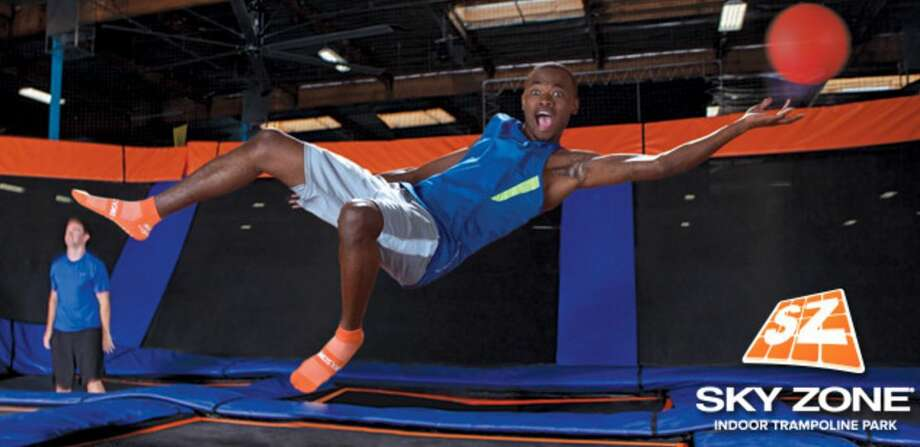 """Sky Zone Albany: Besides their """"open jump"""" trampoline courts, you can also play adult dodgeball, attend their Glow nights (black lights, live DJ, lasers), practice your dunking on one of their trampoline launch pads, or get some fitness in at one of their Skyrobics classes.You can even have a birthday party here.Visit their website. Photo: Sky Zone Albany"""