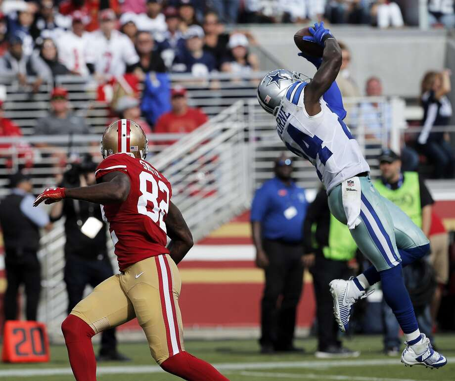 Cowboys cornerback Morris Claiborne intercepts a deep pass intended for Torrey Smith on Sunday. Photo: Carlos Avila Gonzalez, The Chronicle
