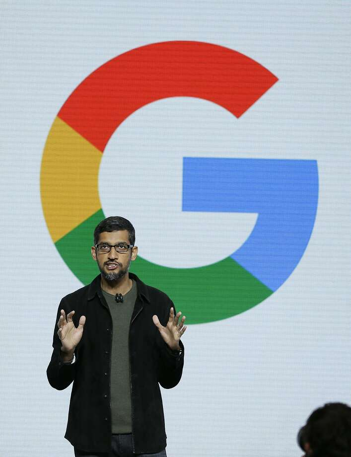 "Google CEO Sundar Pichai speaks during a product event, Tuesday, Oct. 4, 2016, in San Francisco. Google launched an aggressive challenge to Apple and Samsung, introducing its own new line of smartphones called Pixel, which are designed to showcase a digital helper the company calls ""Google Assistant."" (AP Photo/Eric Risberg) Photo: Eric Risberg, Associated Press"