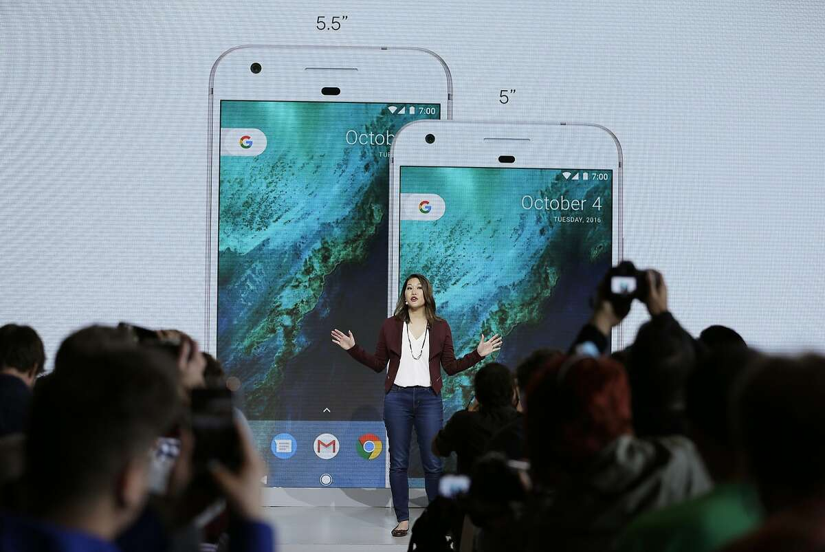 Sabrina Ellis, Google director of product management, talks about the new Google Pixel phone during a product event, Tuesday, Oct. 4, 2016, in San Francisco. The new phones represent a big, new push by Google to sell its own consumer devices, instead of largely just supplying software for other manufacturers. (AP Photo/Eric Risberg)