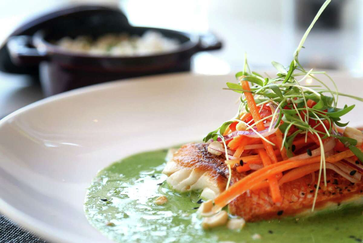 Gulf snapper with green curry and veggie slaw is seen at Third Coast, the new restaurant (replacing Trevisio) at Texas Medical Center.