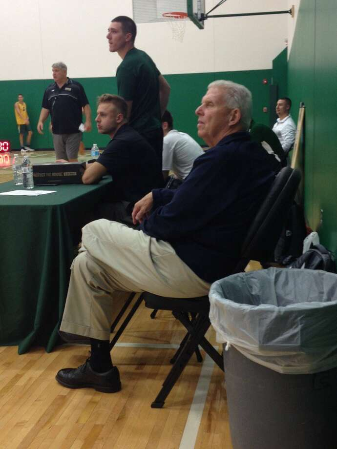Hall of Fame football coach Bill Parcels visits Siena men's basketball practice Tuesday. (Mark Singelais / Times Union)