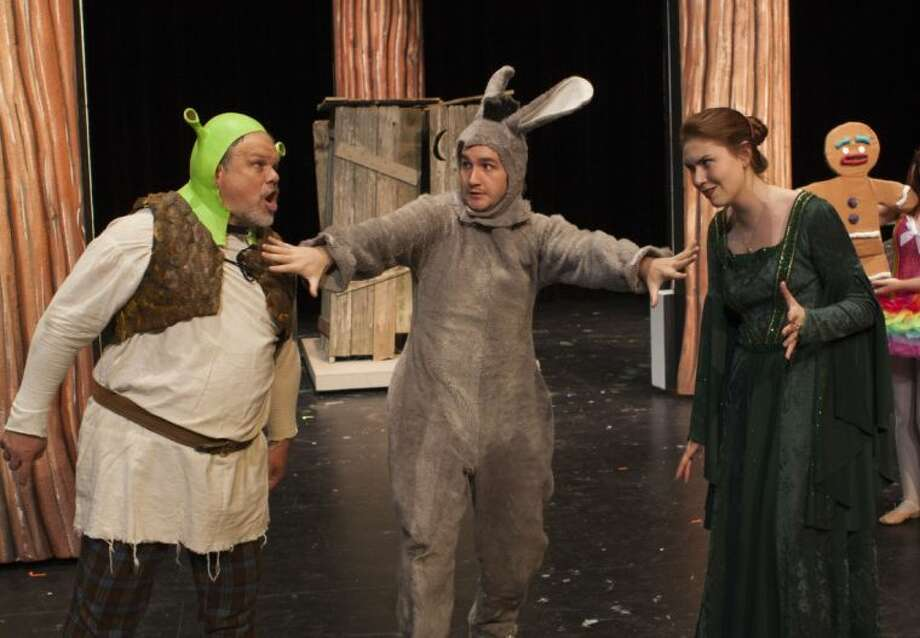"""From left to right: Travis Bryant, Tyler Galindo and Andi Dinehart rehearse a scene from LSC-Tomball's production of """"Shrek: The Musical."""" Photo: Submitted"""