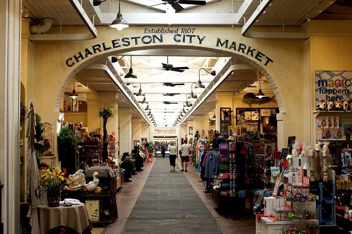 Light floods the recently restored Great hall at Charleston's City Market through a skylight added down the middle.