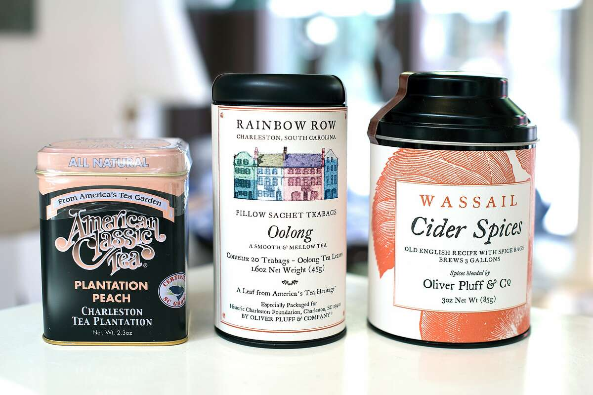 Tea and spices are among the locally made items sold at Charleston's City Market.