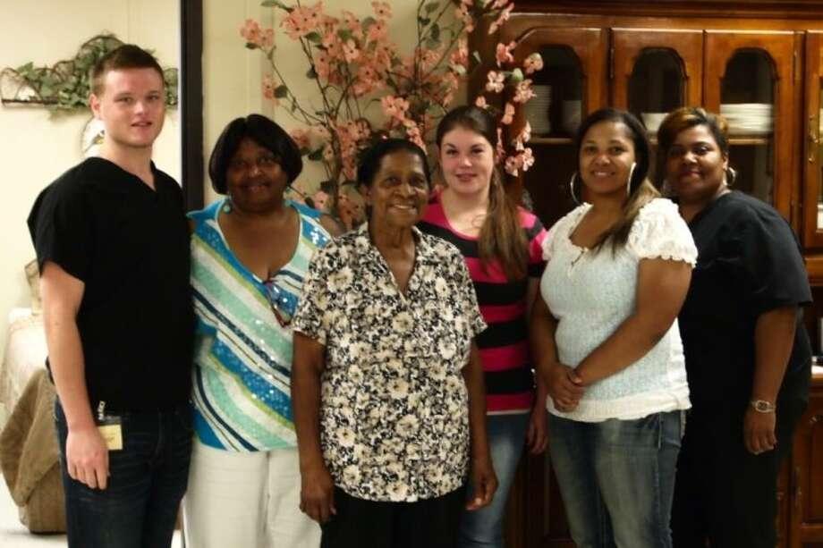 The Dayton-Tarkington Care Center staff include, from left, Nathan Reigert, Asst. Manager Bettye Hickerson, Justean Cooper, Brittany Jordan, Manager Essie McBride, and Nurse Avora Cooper. Photo: CASEY STINNETT