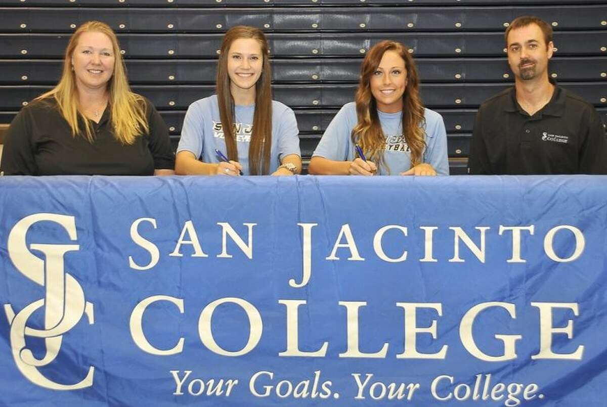 Deer Park volleyball seniors Samantha McMahon and Hannah Malley have signed National Letters of Intent to play volleyball this Fall at San Jacinto College. Pictured, left to right, are: San Jacinto College Volleyball Head Coach Sharon Nelson, McMahon, Malley, and San Jacinto College Volleyball Assistant Coach Jeff Pearce. Photo credit: Andrea Vasquez, San Jacinto College marketing, public relations, and government affairs department.
