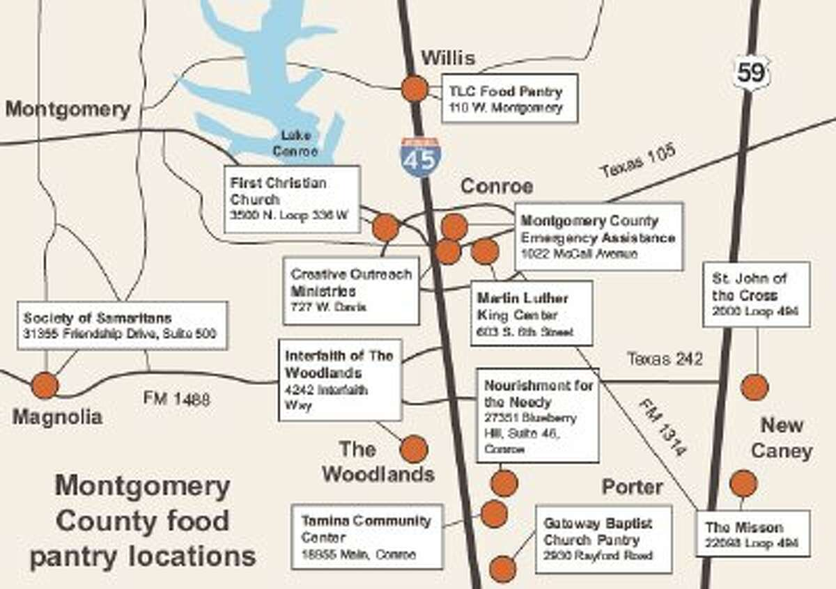 Map of local food pantries in Montgomery County