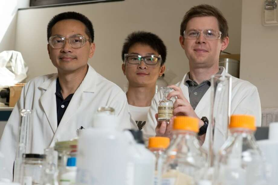 Rice University scientists (from left) Michael Wong, Zhun Zhao and James Clomburg discovered a palladium and gold nanocatalyst that is faster -- about 10 times faster -- at converting glycerol into high-value products than catalysts of either metal alone. Photo: Jeff Fitlow