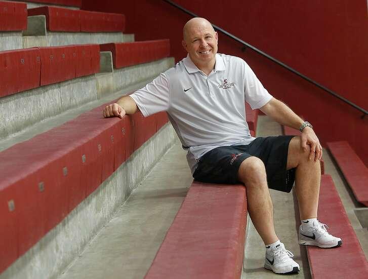 Santa Clara's new head basketball coach, Herb Sendek, coaches the men's basketball team at the Leavey Center on Monday, October 3, 2016, in Santa Clara, Calif.