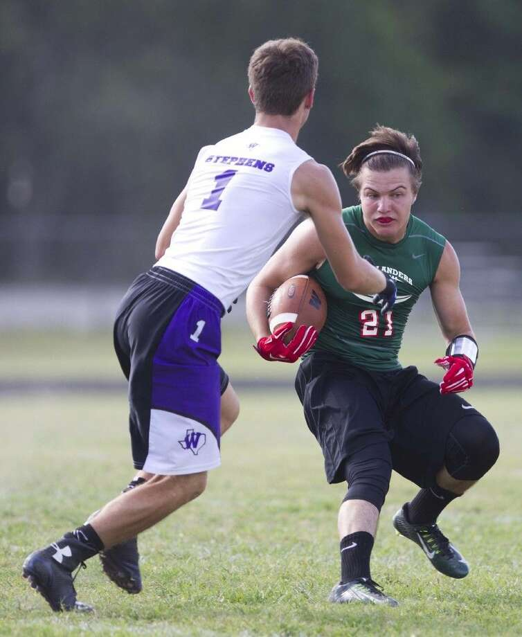 The Woodlands' Lex Tyauffler tries to avoid a Willis defender during a 7-on-7 game Wednesday. To view or purchase this photo and others like it, visit HCNpics.com.
