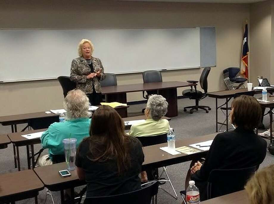 Texas Board of Pardons and Parole Lynn Ruzicka speaks to chamber members.