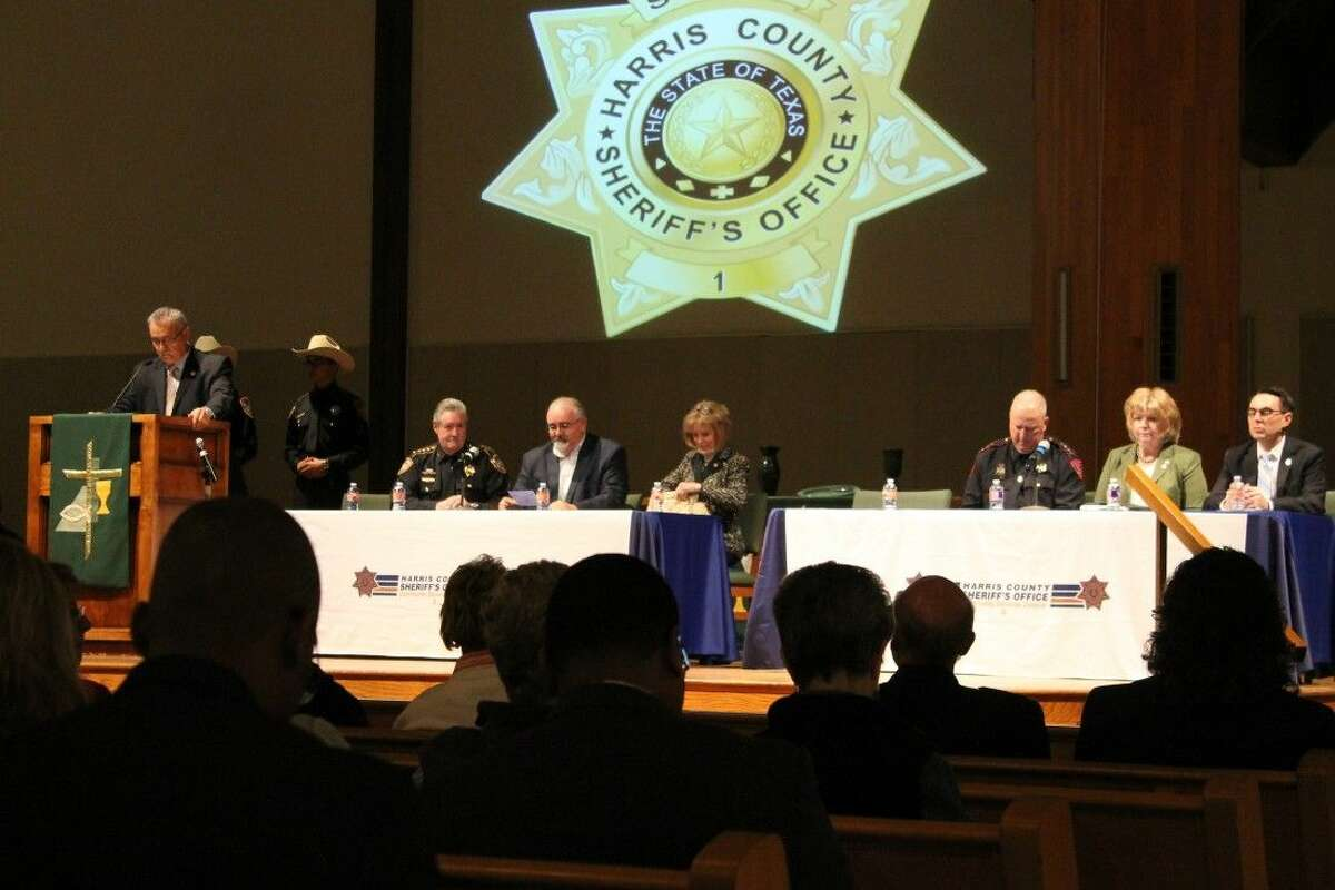 Panel members answer questions from the community regarding the open carry law. From left are Sheriff Ron Hickman, Commissioner Jack Cagle, Rep. Debbie Riddle, Constable Mark Herman, C.A. Barbara Armstrong, and Jason Woods in for D. A. Devin Anderson.