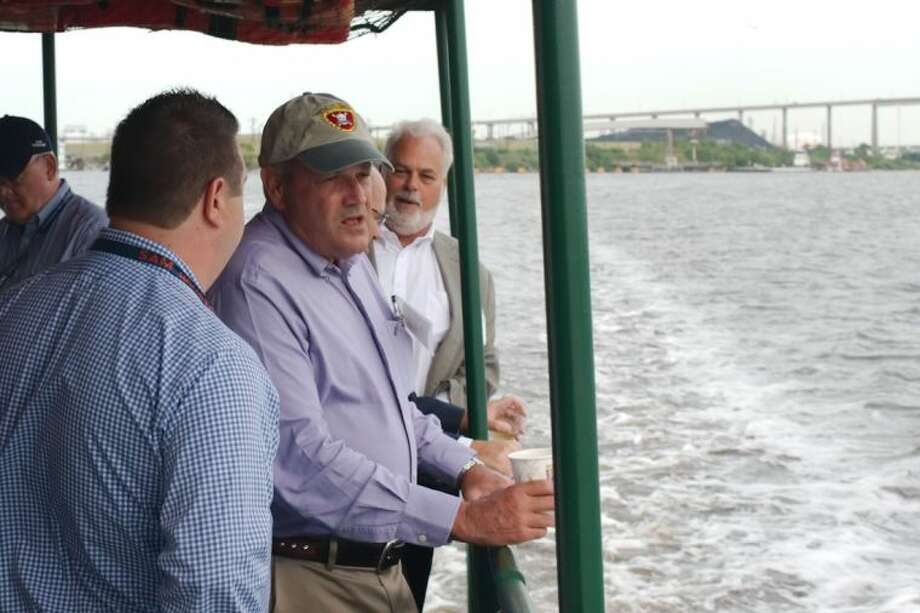 Texas Department of Transportation Executive Director Lt. Gen. Joe Weber, USMC, (Ret.) looks out from the deck of the tour boat, M/V Sam Houston during a tour of the Houston Ship Channel and ports Wednesday, June 25. Photo: Kirk Sides