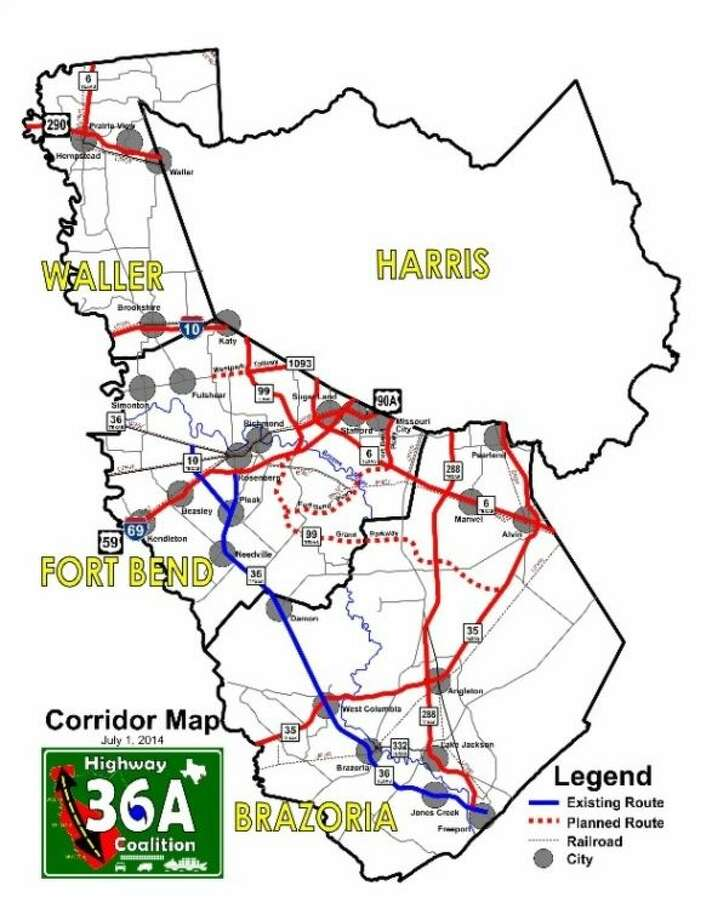 The Highway 36A Coalition's revised routing map, changed to show that it has not yet endorsed any route through Waller County, or the Katy Prairie Conservancy. Photo: Submitted Image
