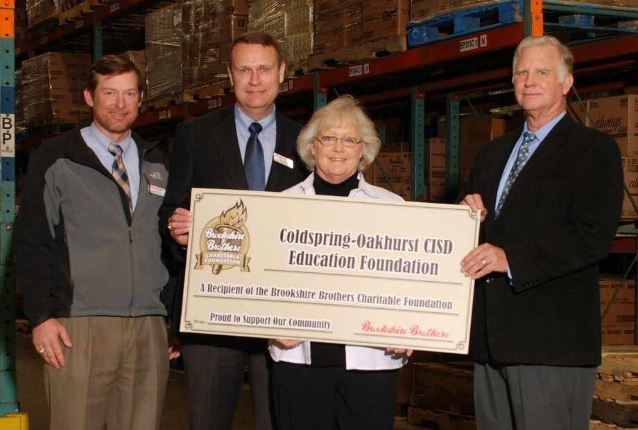 The Brookshire Brothers Charitable Foundation presents COCISD Education Foundation President Cherie Meroney with a $1,000 donation on Monday, Jan. 25. Photo: Submitted