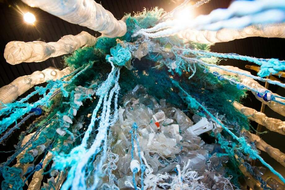 Washed Ashore is a traveling art exhibit that features giant sculptures of the sea life most affected by plastic pollution, and is made entirely of marine debris collected from beaches.