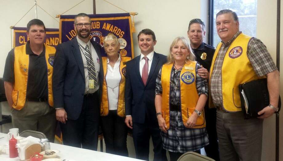 Cleveland Lions Club members, including Thomas Higgins, Estelle Trevathan, Terrie Manners and Mike Penry, welcomed guest speakers Liberty County Assistant District Attorney Matthew Poston, Liberty County District Attorney Logan Pickett and Cleveland Police Capt. Scott Felts to the Feb. 2 meeting of the organization. Photo: Stephanie Buckner