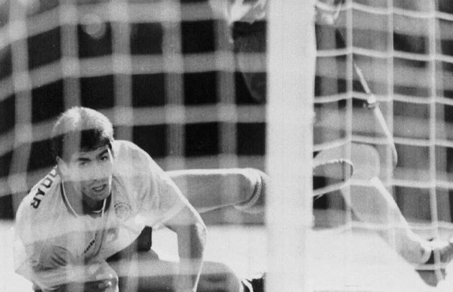 Colombia's Andrés Escobar watches a shot by the United States' Eric Wynalda miss the Colombian goal during a June 22 match at the 1994 World Cup in Pasadena, Calif. The Unites States defeated Colombia 2-1, and 10 days later Escobar was shot six times by a man employed by two drug traffickers.