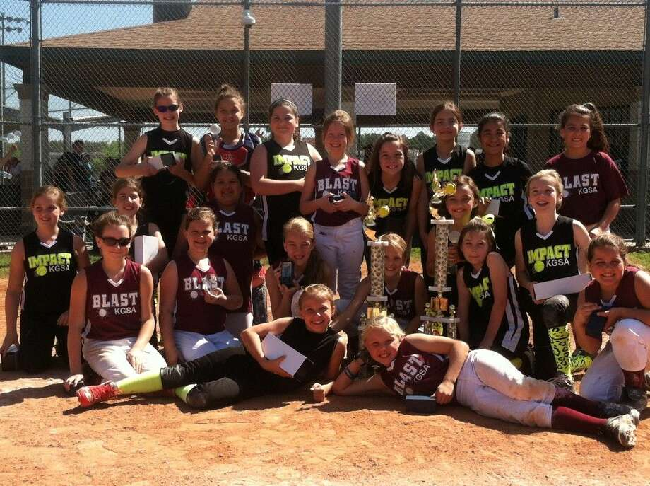 KGSA 10U Impact and Blast celebrate their first and second place victories at the Houston ASA Metro Tournament. Left to right (top row) Hailey Harvey, Molly Landry, Kennedy Deville, Kylen Crawford, Meredith Schmitt, Hailey Trueblood, Natalie Ceron, Kennedy Savell; (middle row) Devin Durkan, Hannah Leierer, Christina Jackson, Macey Gilman, Delanie Davila, Tia Elliott, Lanie Macicek, Courtney Petrosino, Madison Mulvaney, Sophia Martin, Jenna Papadimitriou; (bottom row) Tara Wolocko and Jamie Allums. Not pictured: Taylor Vannett and Jules Van Dyk