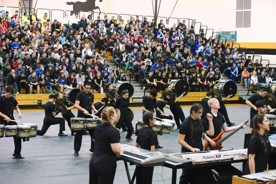 The Pasadena Memorial High School indoor drumline and percussion pit perform at the Texas Color Guard Circuit Percussion Competition Saturday, February 6, 2016.
