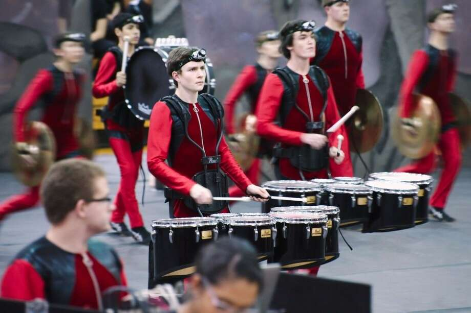 Members of the Clear Brook High School indoor drumline perform at the Texas Color Guard Circuit Percussion Competition Saturday, February 6, 2016.