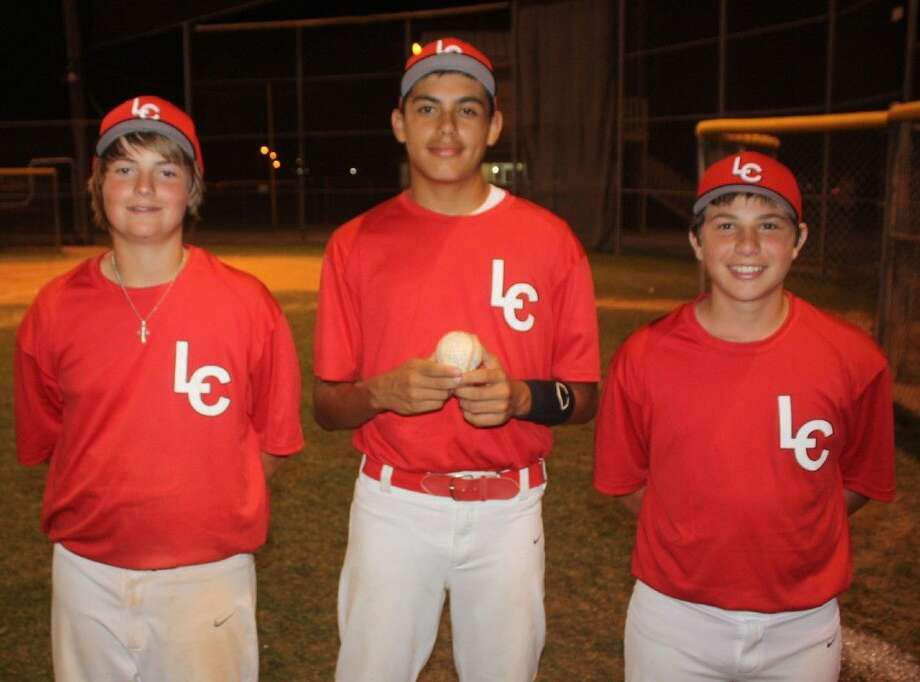 From L-R, Colton Gans, J.P . Gonzalez and Jake Trapani were three key cogs in Friday night's win for the League City 13-year-old Pony all-stars. Photo: Robert Avery