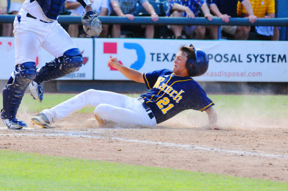 Cy Ranch's Logan Thibodeaux scores on Masen Hibbeler's sac bunt in the seventh inning of the UIL Class 6A baseball state semifinals Friday in Round Rock. Photo: Tony Gaines/HCN