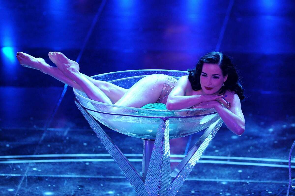 Dita Von Teese attends the 60th Sanremo Song Festival at the Ariston Theatre On February 16, 2010 in San Remo, Italy. (Photo by Daniele Venturelli/Getty Images)