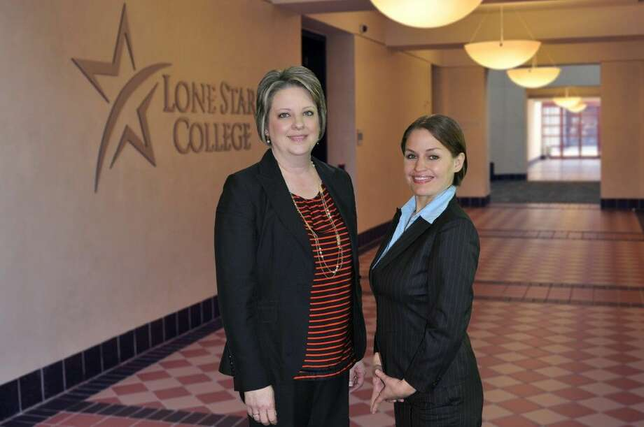 Lone Star College-CyFair Interim President Dr. Deana Sheppard congratulates Krista Garrie, Lone Star College Foundation student essay contest winner from LSC-CyFair. Photo: Submitted Photo