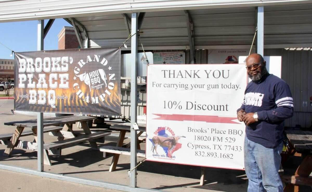 The owner of Brooks' BBQ Place, Trent Brooks, offers his customers who lawfully carry a gun a 10 percent discount.