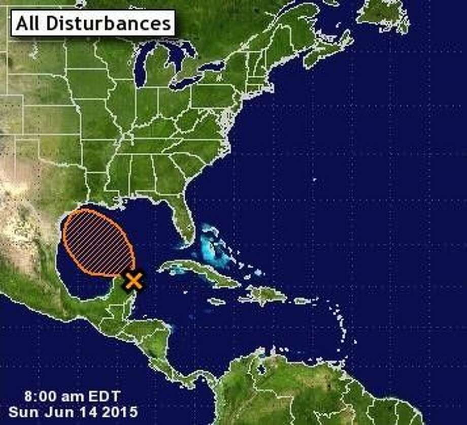 This map shows the expected track of a a tropical disturbance that has entered the Gulf. The system is expected to dump high levels of rain on Southeast Texas Monday through Wednesday.