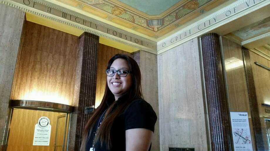 Alejandra Garza of Humble poses inside Houston City Hall. Garza is an intern for the city's office of special events, and is currently helping put together this year's 4th of July event, Freedom over Texas.