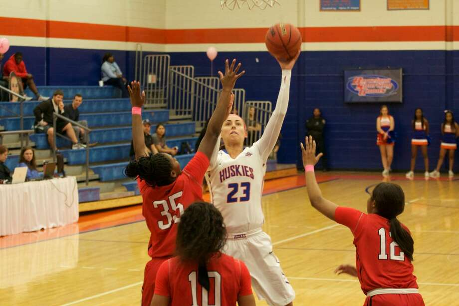 Anna Strickland (23) recorded 27 points, 16 rebounds and nine assists to lead HBU to a 77-66 victory against Lamar in Southland Conference action Feb. 10 at Sharp Gym in Houston. Photo: HBU Athletics Media Relations