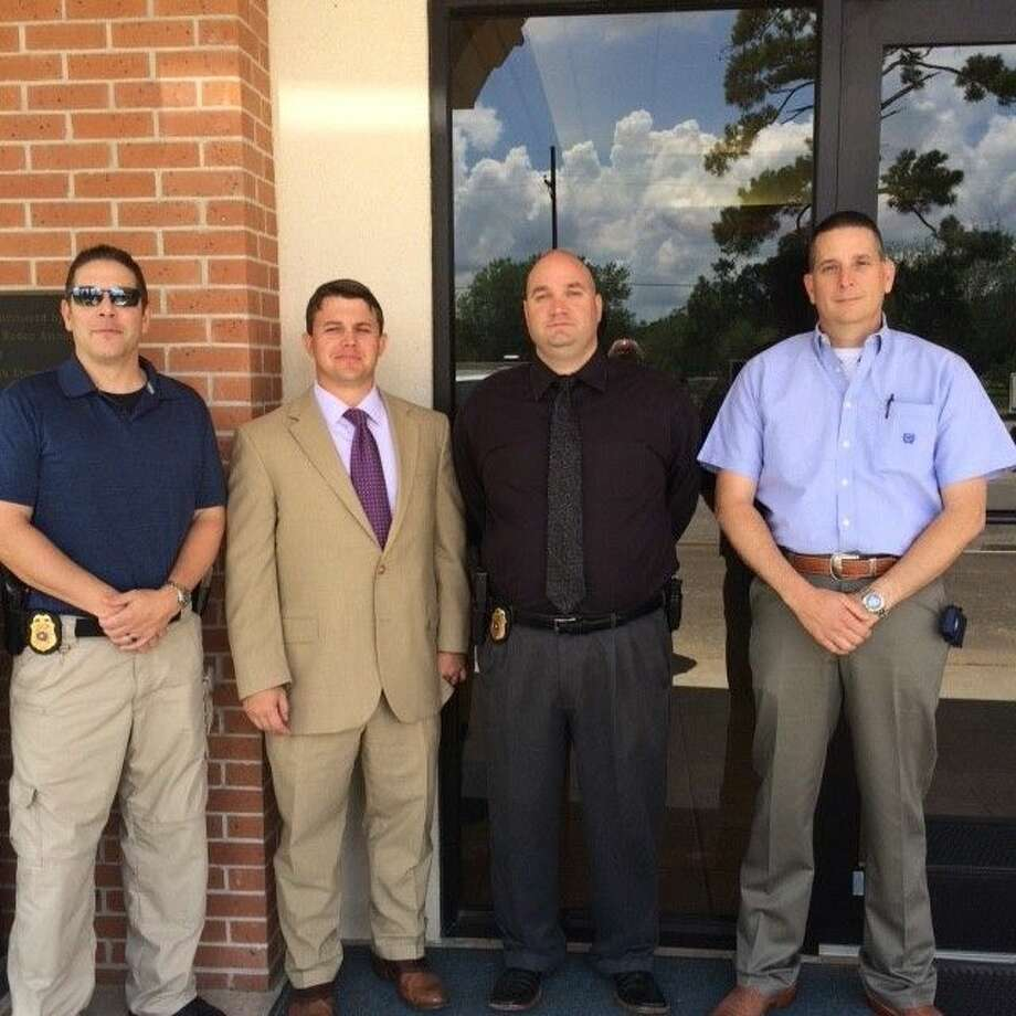 Cleveland Police Department investigators recently underwent training on advanced interrogation and interviewing at the Harris County Sheriff's Office training academy. The funding for the training came from the Liberty County District Attorney's Office. Pictured left to right are Capt. Scott Felts, Liberty County DA Logan Pickett, Det. John Shaver and Det. Kevin Cooke. Photo: Submitted