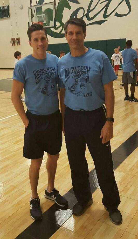 Kolby Huseman, left, and Royce Huseman, right, pose for a photo during the Kingwood Basketball Camp last week.