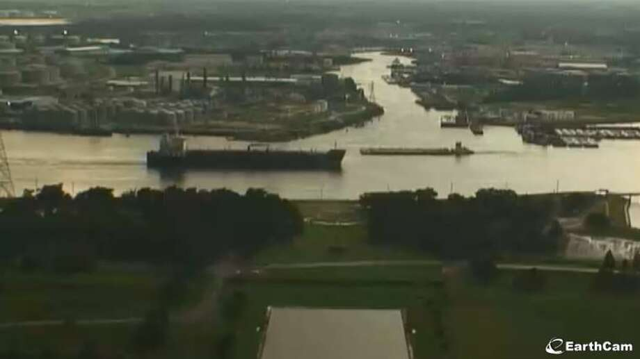The view from atop the San Jacinto Monument along the Houston Ship Channel. Photo: Www.EarthCam.com