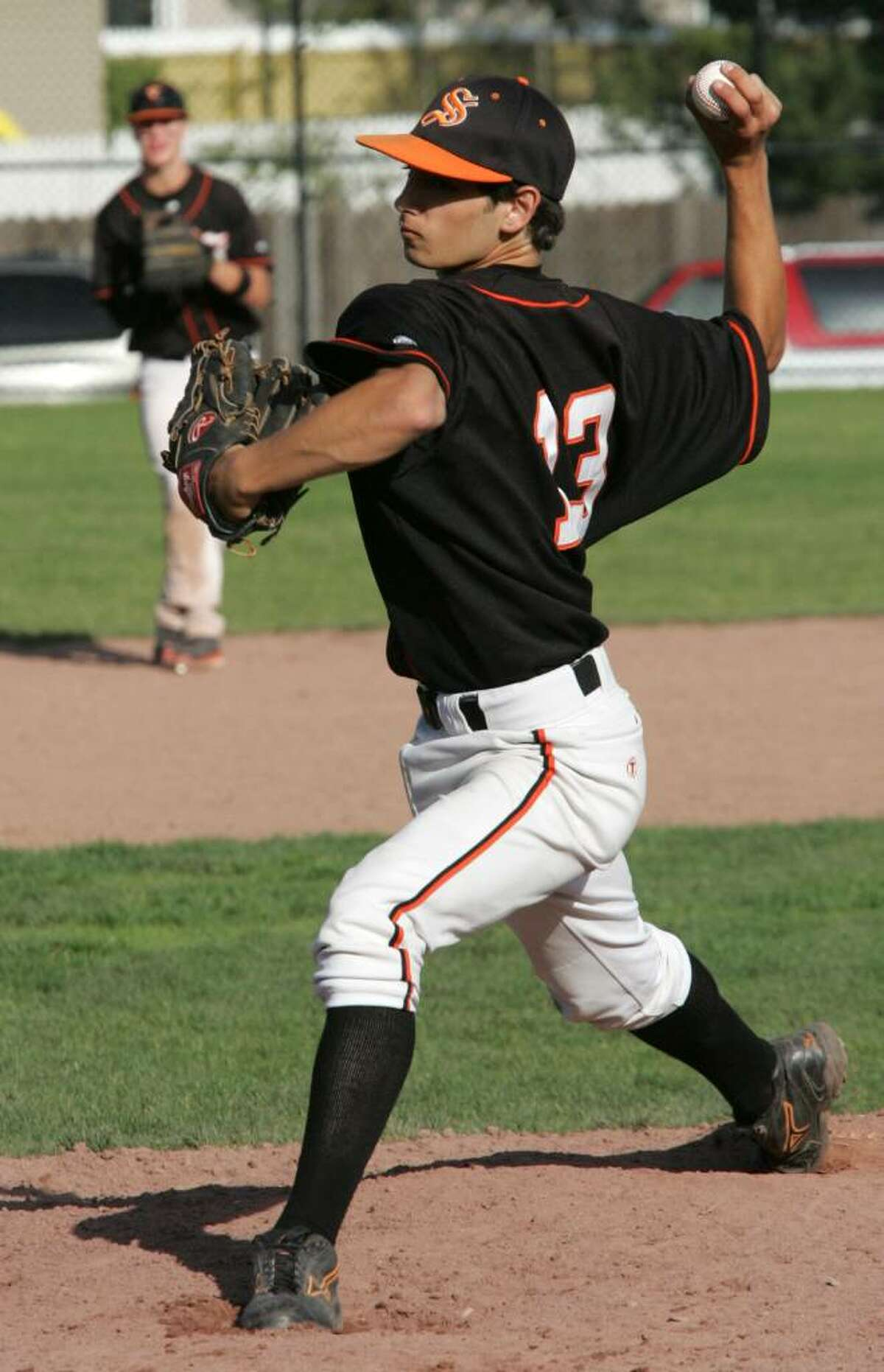 Stamford High School pitcher John McClafferty in action agains Ridgefield High School during Friday afternoons game held in Stamford.