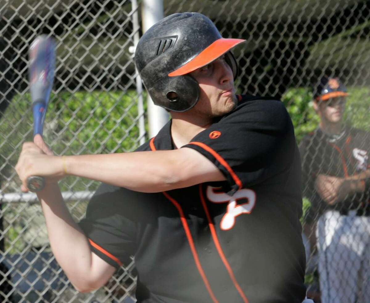 Stamford High School's designated hitter Mark Borea at bat during Friday afternoons game against Ridgefield.