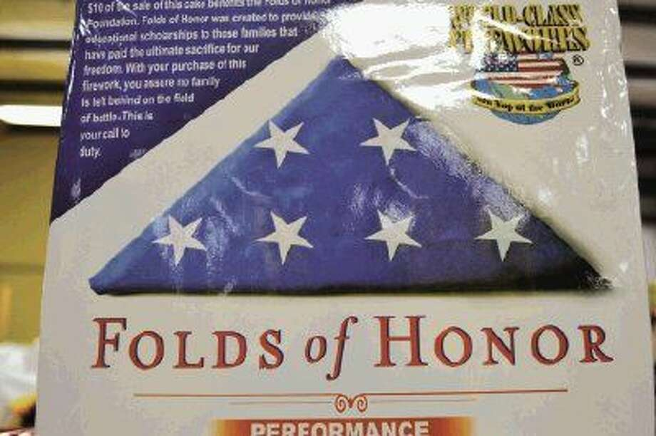 Folds of Honor is a 16-shot firework in red, white and blue.