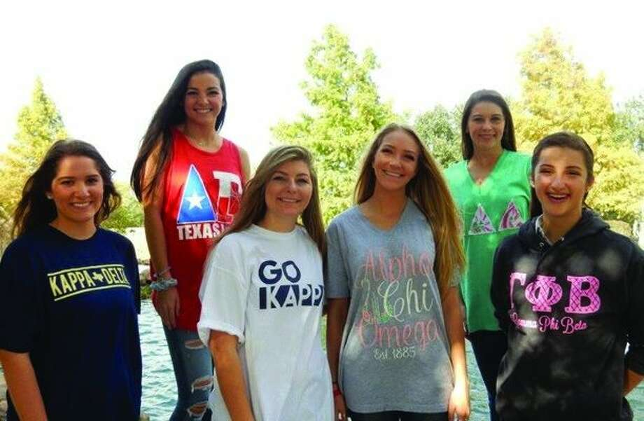 Collegians who have benefited from Recruitment Registration are, from left, Leah Fontana- Texas Tech University, Kappa Delta; Chandler Romere- Texas A&M, Delta Gamma; Emily Pantera- University of Alabama, Kappa Kappa Gamma; Ginger Camp, University of Alabama, Alpha Chi Omega; Erinn Prophy, Texas Tech University, Delta Delta Delta; and Reyann Taylor, University of Oklahoma, Gamma Phi Beta.