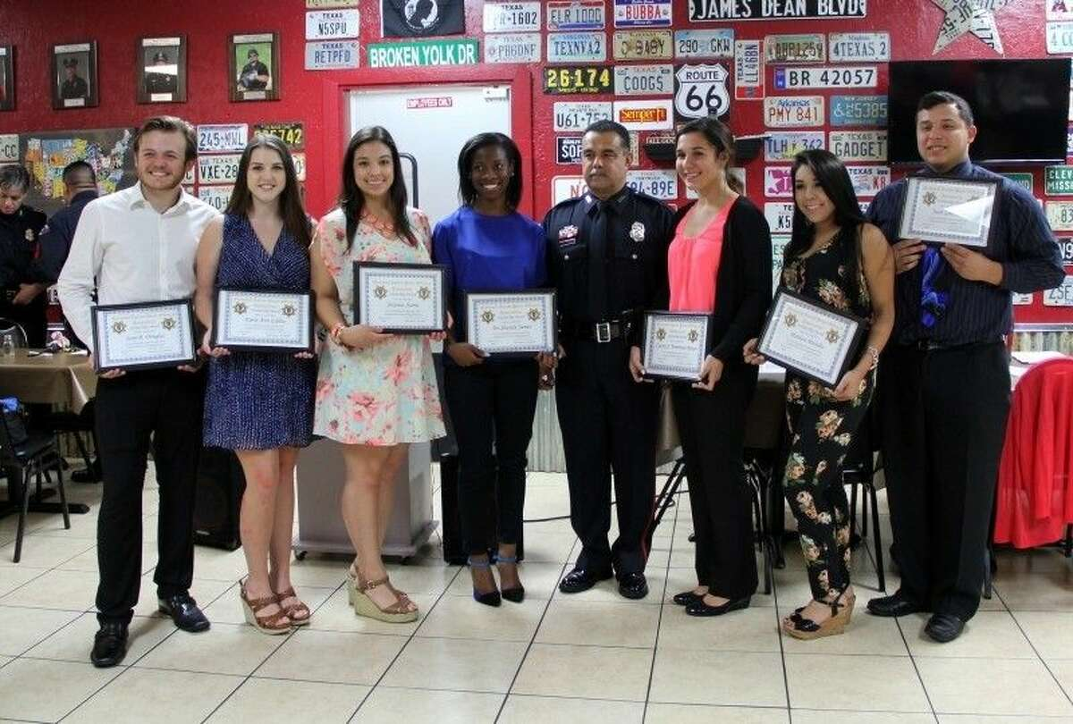The Southeast Harris County Chapter of the National Latino Peace Officer Association honored scholarship recipients at a dinner held Monday, June 15. Pictured from the left: Sean D. Douglas, Karis Ann Gallia, Alex Alvarez, Tre'Shundra James, Officer Raul Ibarra, president of the Southeast Chapter of the National Latino Peace Officers Association, Ciarra J. Trentman-Rosas, Marissa Morales, Juan Garcia Jr.