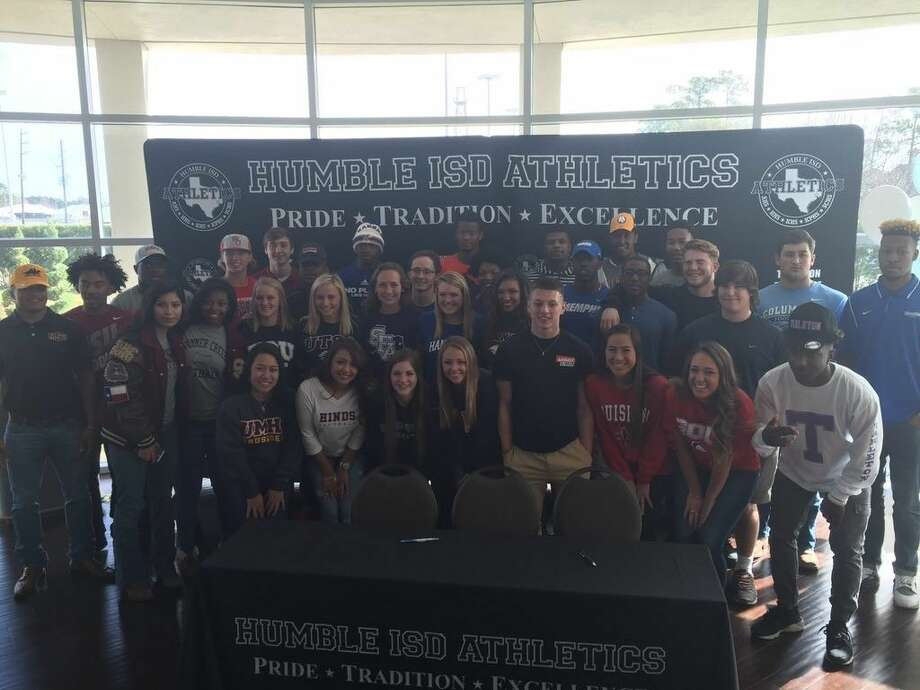 Humble ISD athletes from Humble, Kingwood, Kingwood Park, Summer Creek and Atascocita signed National Letters of Intent on Wednesday, Feb. 3, 2016 at the Humble Civic Center to play collegiate athletics.