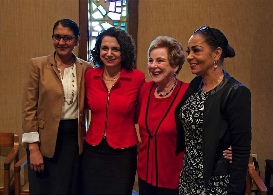 The speakers with Advocacy Co-VP Donna Price, who introduced them. (L-R) Minal Patel Davis, Lori Cohen, Donna Price, and Kathryn Griffin.