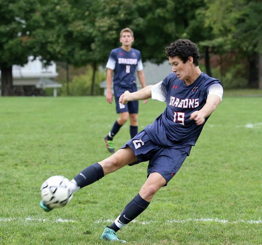 Greens Farms Academy senior Hobi Lew scored GFA's first goal in a 2-1 victory over the Harvey School on Wednesday, Sept. 28. Photo: Contributed / Photo